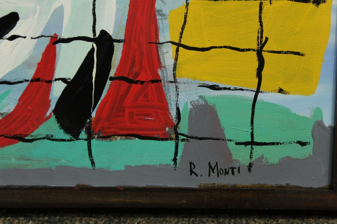 R. MONTI Mid Century Oil/c ABSTRACT BEHIND THE GRID - 2