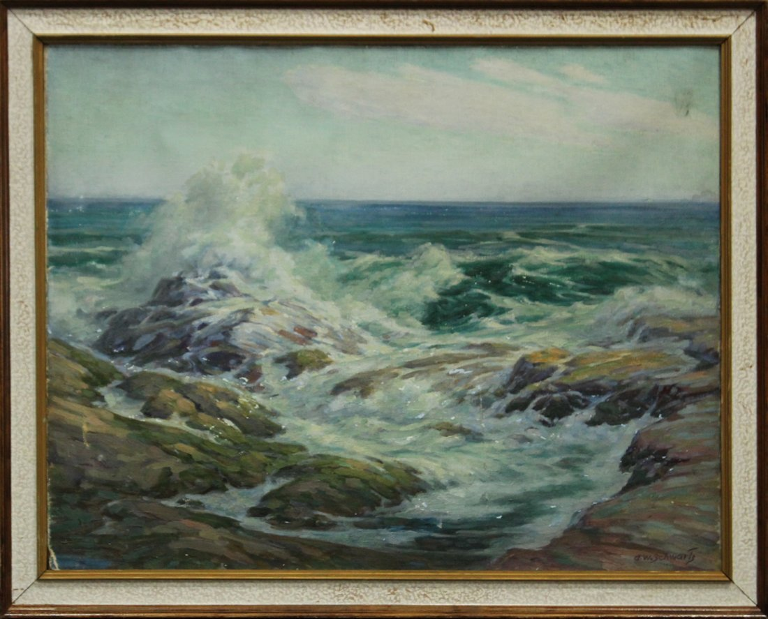 ALFRED W SCHWARTZ Listed Amer. Artist Oil/c SEASCAPE