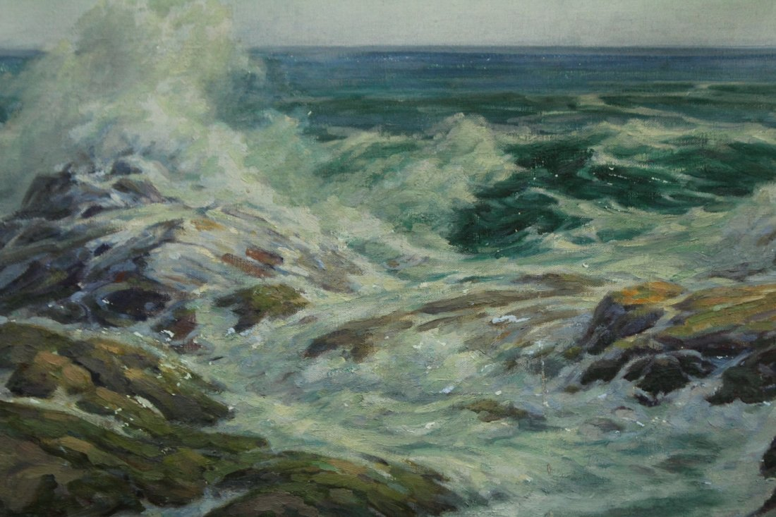 ALFRED W SCHWARTZ Listed Amer. Artist Oil/c SEASCAPE - 2