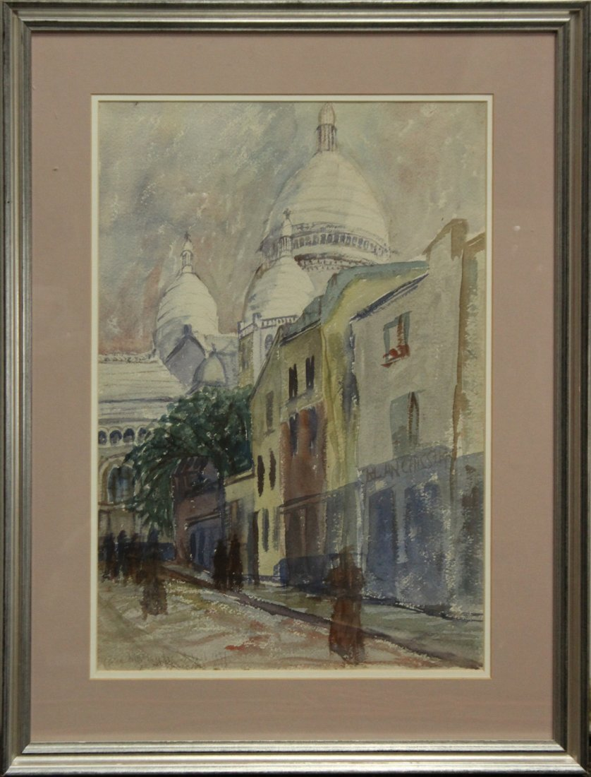 FRANKLIN ZELL HEUSTON 1937 W/c VILLAGE BEHIND MOSQUE