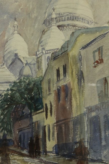FRANKLIN ZELL HEUSTON 1937 W/c VILLAGE BEHIND MOSQUE - 3