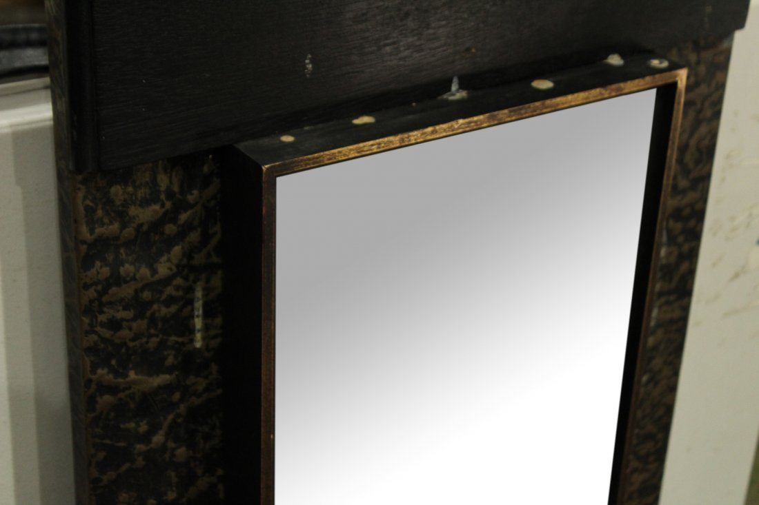 Mid Century Design Hanging Mirror Metal Side Panels - 2
