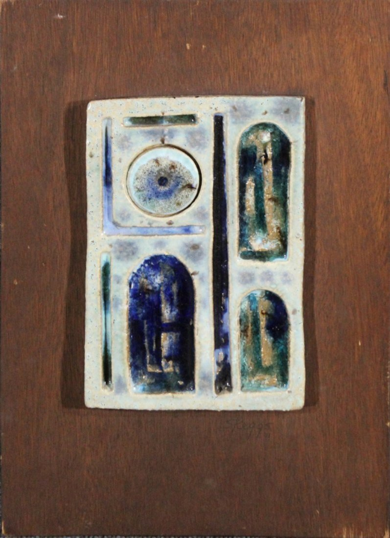 Mid-century modern ceramic tile wall art, SKEGGS DAVID
