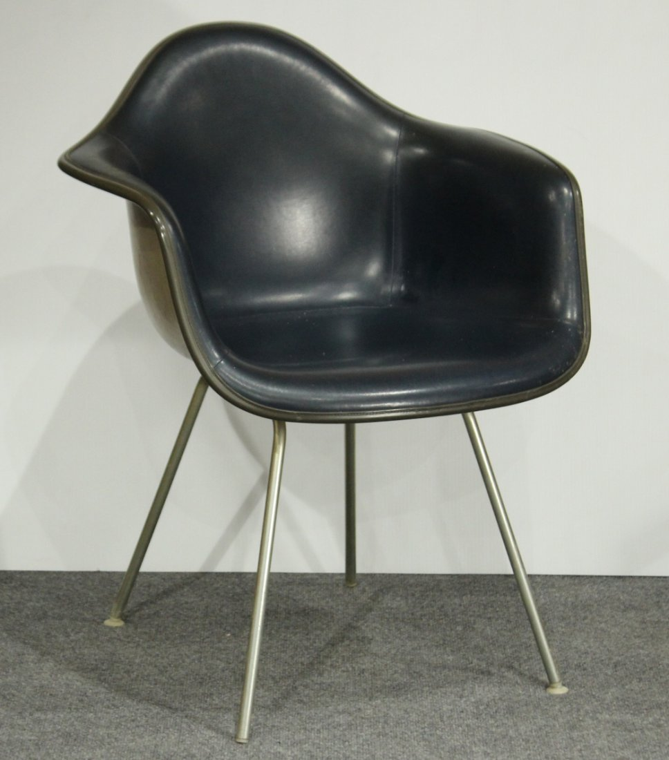 CHARLES EAMES 1950s SHELL CHAIR DARK NAVY BLUE LEATHER