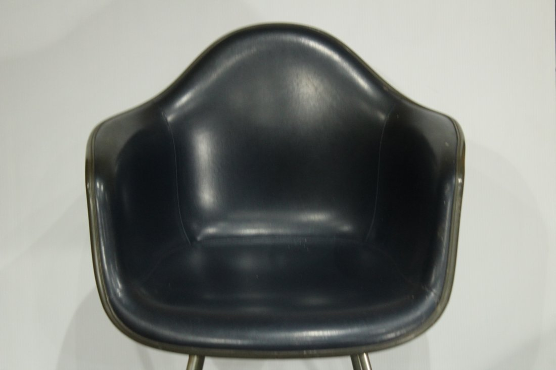 CHARLES EAMES 1950s SHELL CHAIR DARK NAVY BLUE LEATHER - 4