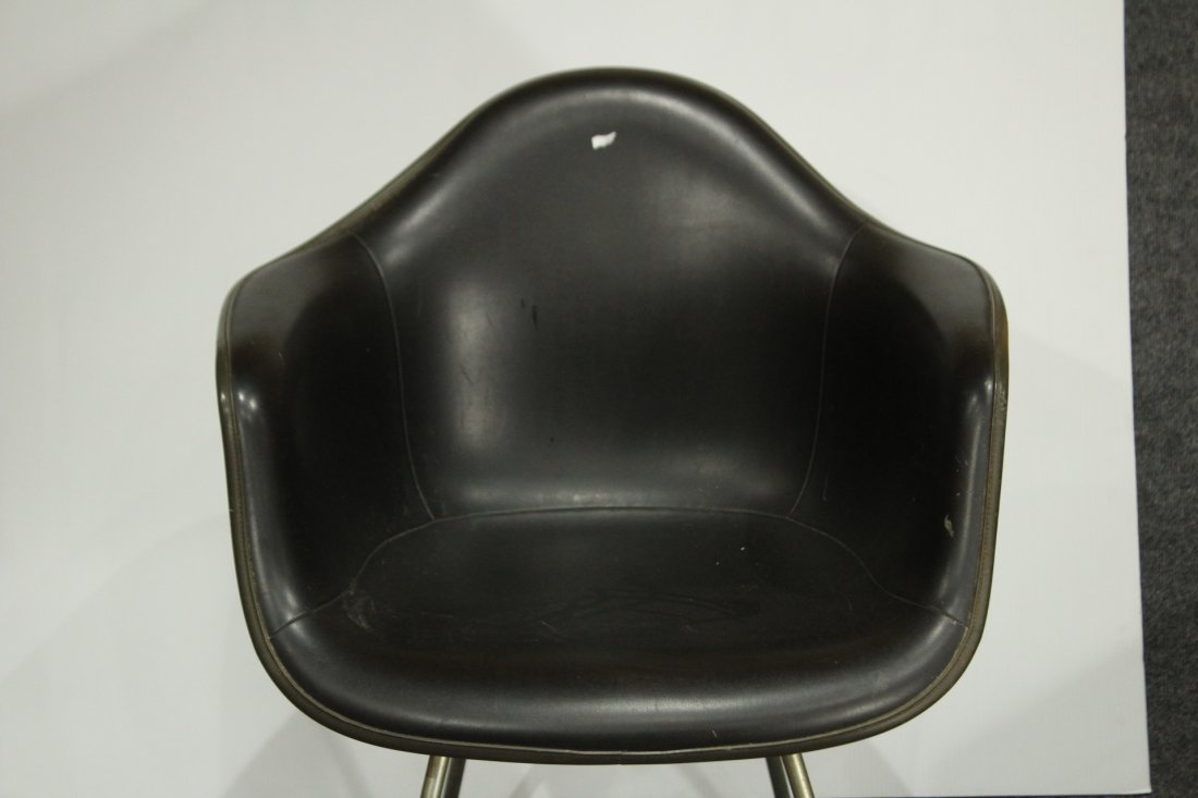 CHARLES EAMES 1950s SHELL CHAIR BLACK LEATHER - 3