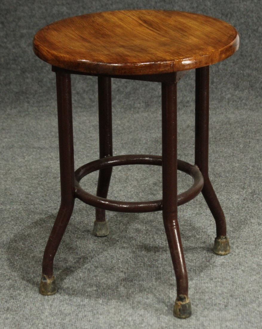 INDUSTRIAL ERA METAL LOW ARCHITECT STOOL ROUND WOOD TOP