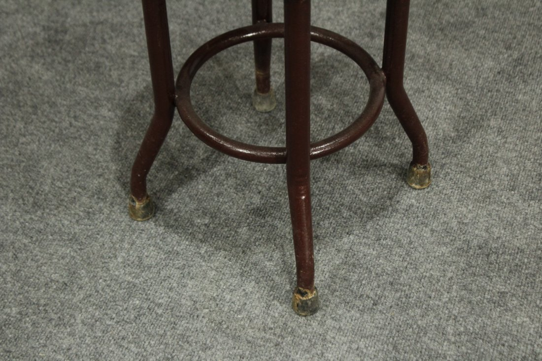 INDUSTRIAL ERA METAL LOW ARCHITECT STOOL ROUND WOOD TOP - 3