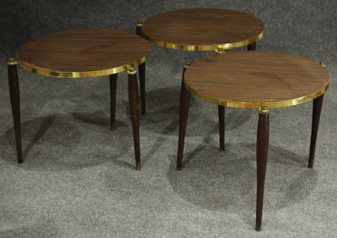 Nest 3 MID CENTURY ROUND STACKABLE TABORET STANDS