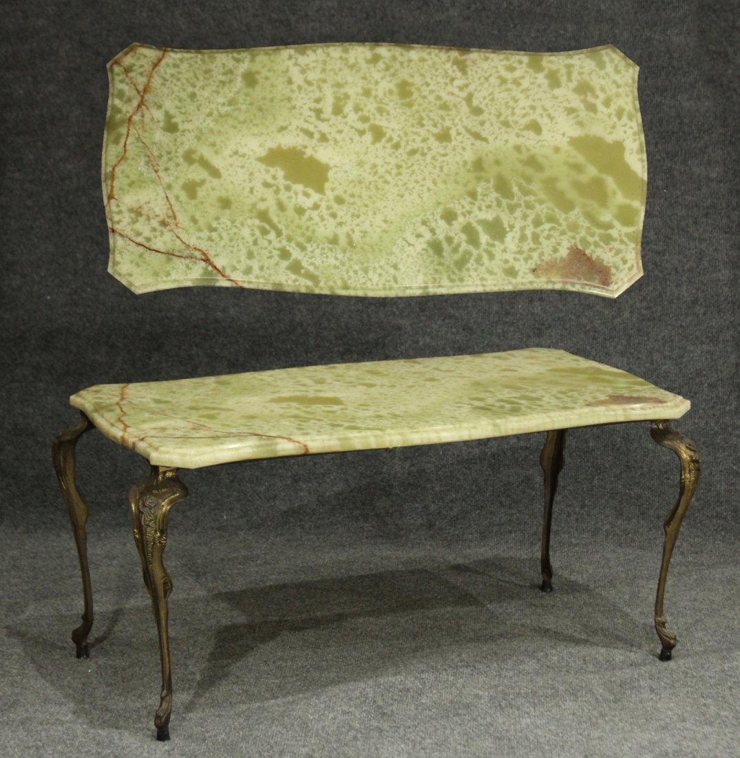Antique FRENCH VICTORIAN METAL BASE GREEN ONYX TABLE