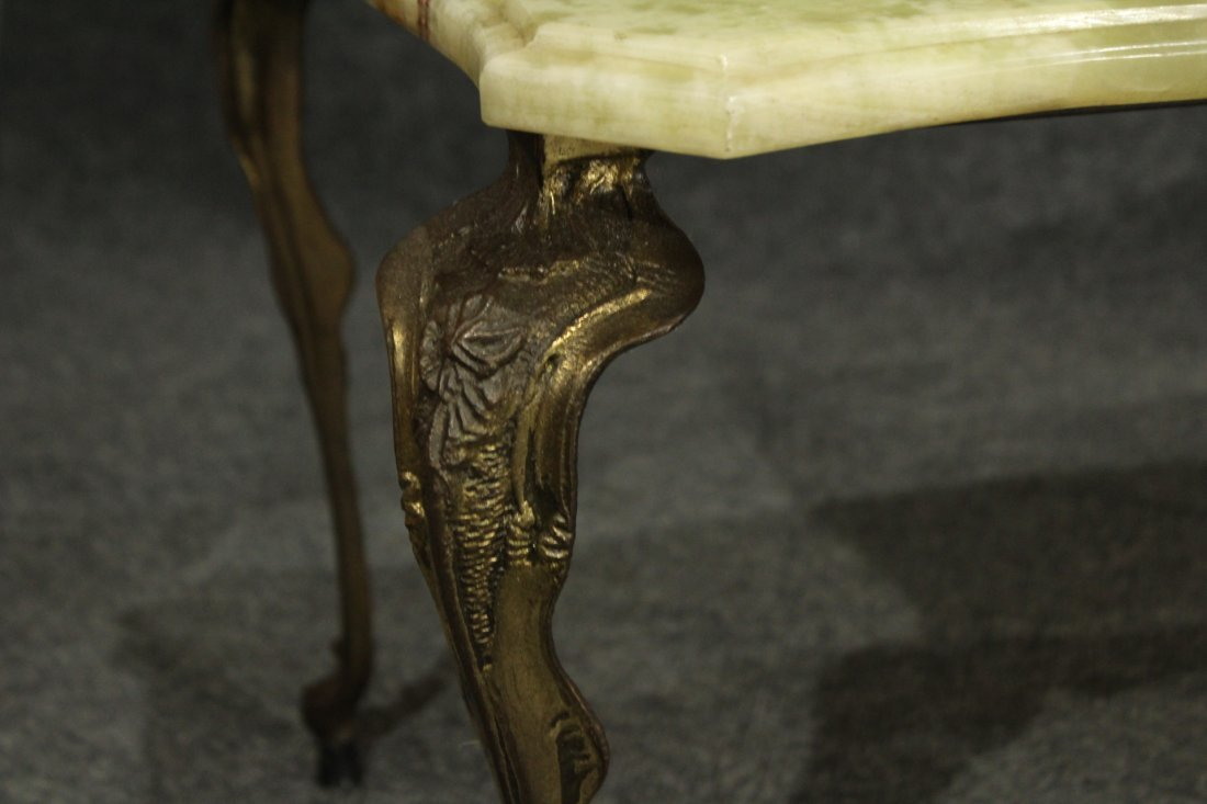 Antique FRENCH VICTORIAN METAL BASE GREEN ONYX TABLE - 2