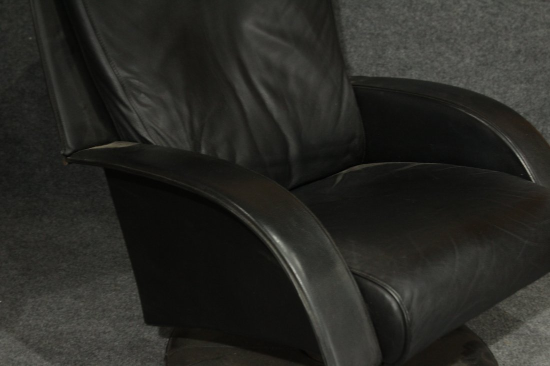 MID CENTURY SPACE AGE BLACK LEATHER RECLINER OTTOMAN - 2
