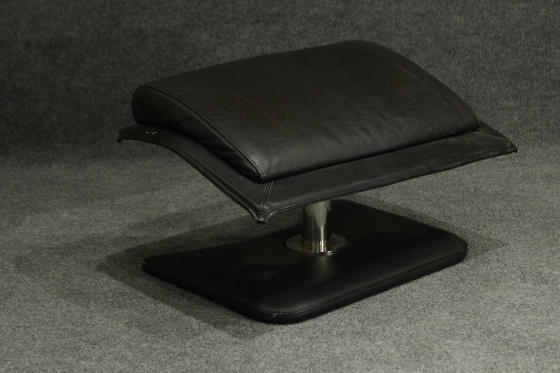 MID CENTURY SPACE AGE BLACK LEATHER RECLINER OTTOMAN - 4