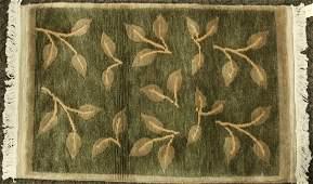 Mid Century Design Wool Handmade Scatter Rug LEAVES
