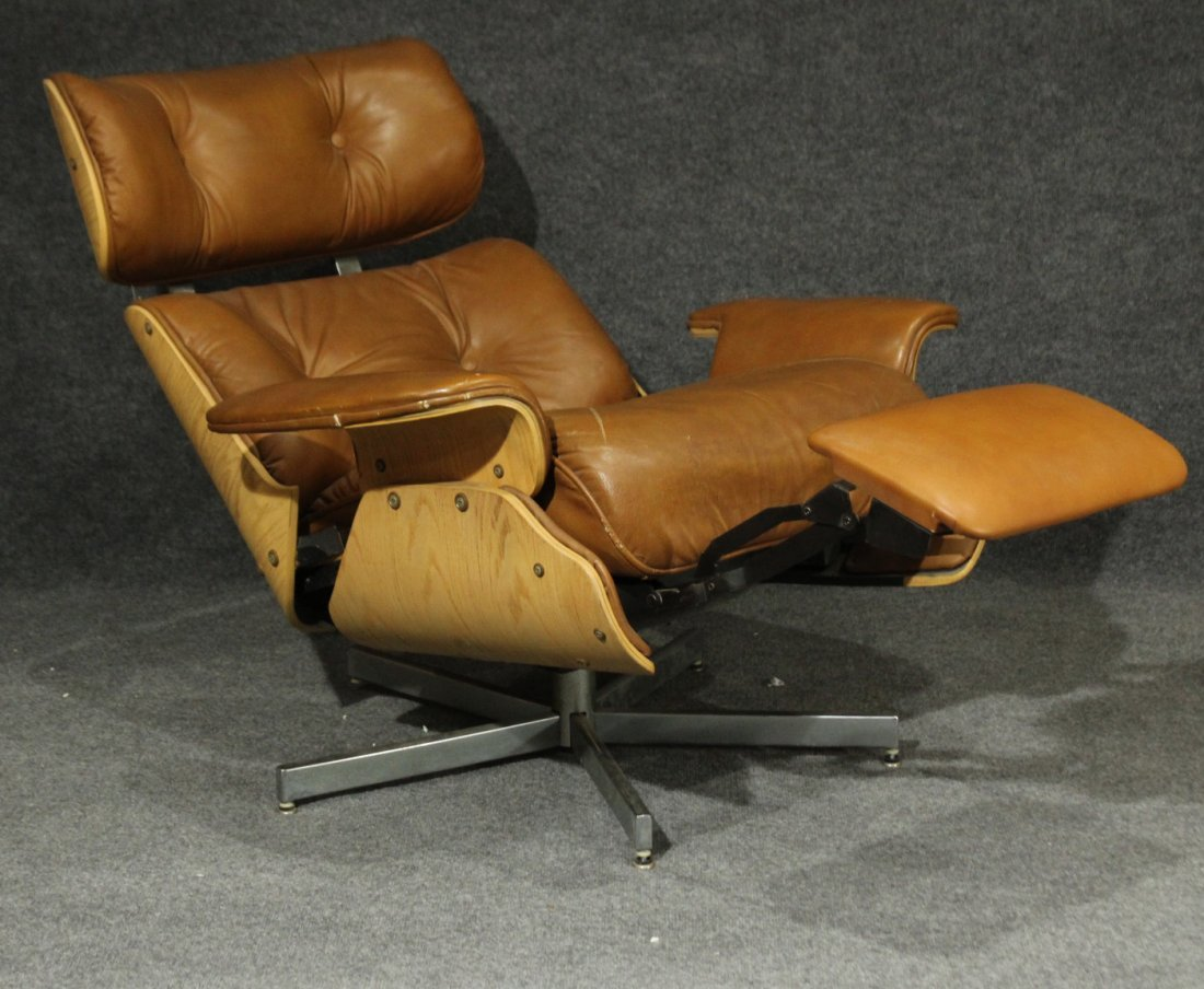 HERMAN MILLER EAMES STYLE RECLINER CHAIR BROWN LEATHER