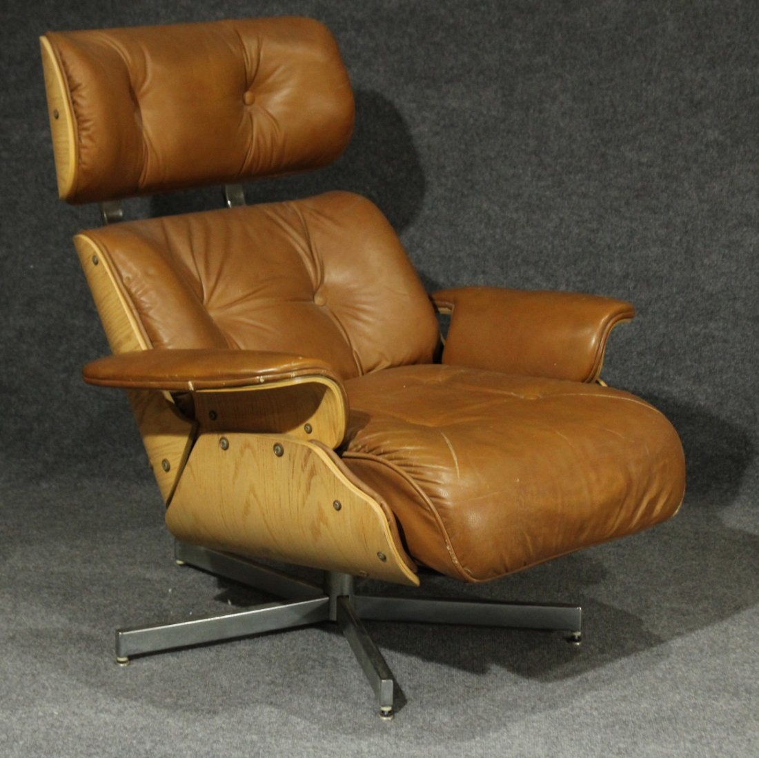 HERMAN MILLER EAMES STYLE RECLINER CHAIR BROWN LEATHER - 2