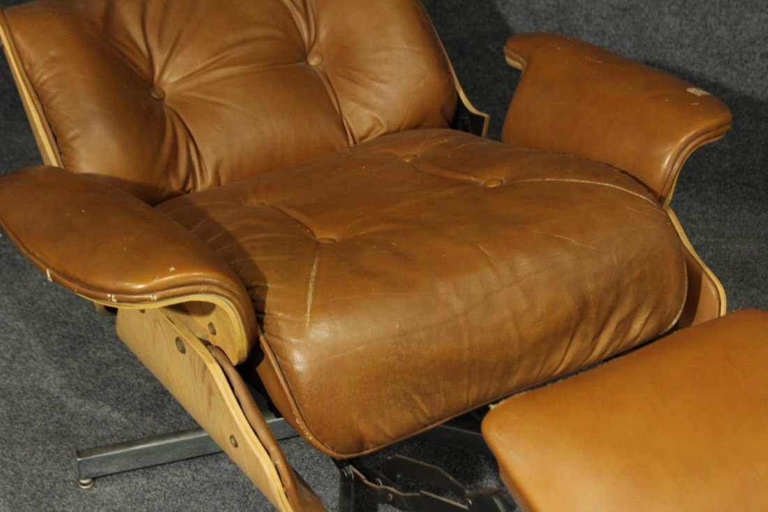 HERMAN MILLER EAMES STYLE RECLINER CHAIR BROWN LEATHER - 3