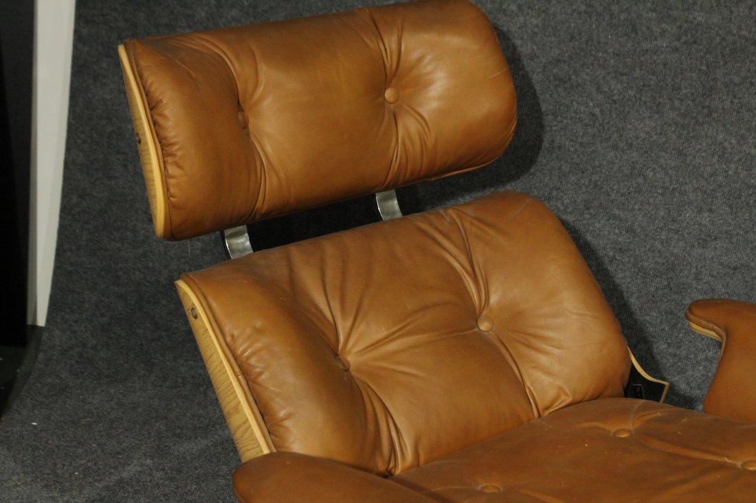 HERMAN MILLER EAMES STYLE RECLINER CHAIR BROWN LEATHER - 4