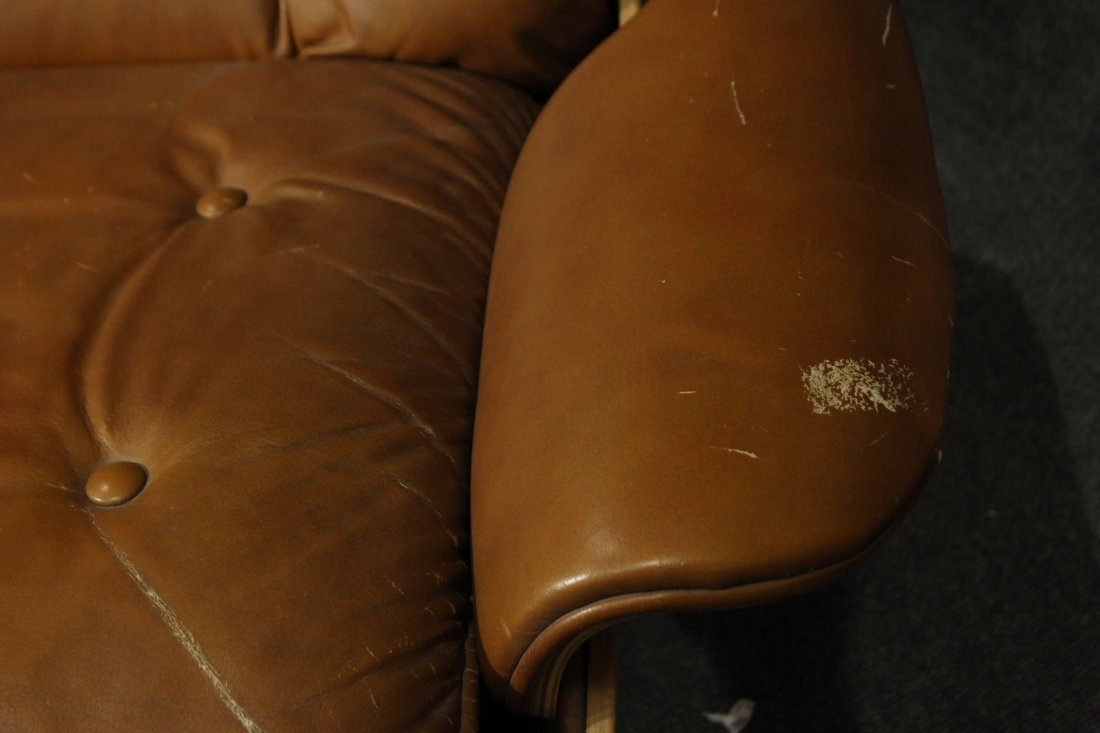 HERMAN MILLER EAMES STYLE RECLINER CHAIR BROWN LEATHER - 6