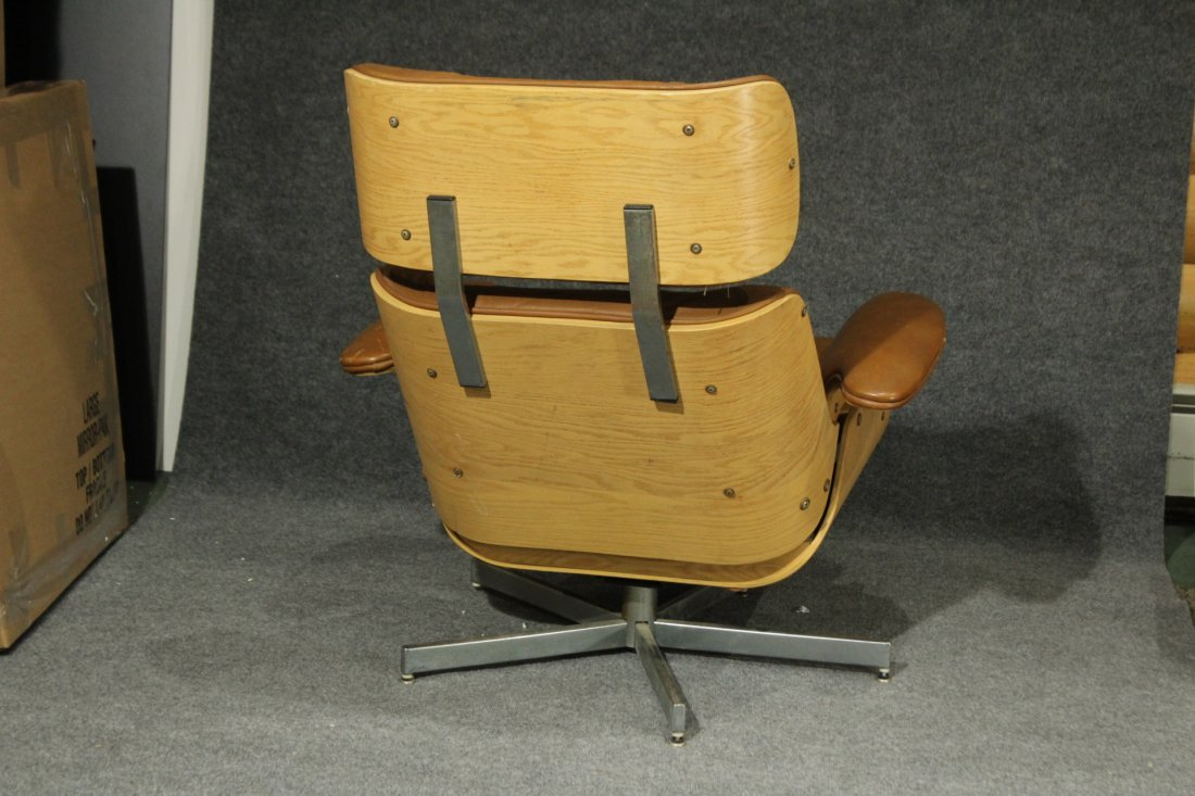 HERMAN MILLER EAMES STYLE RECLINER CHAIR BROWN LEATHER - 7