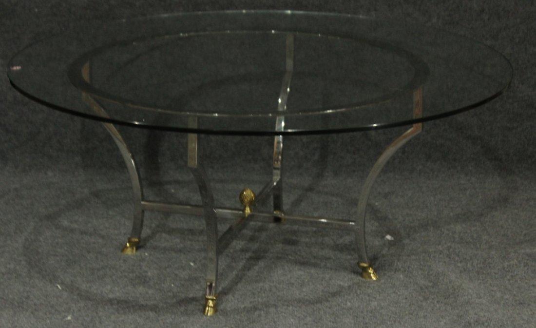 MAISON JANSEN Round Chrome and Brass Coffee Table