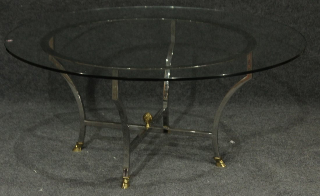 MAISON JANSEN Round Chrome and Brass Coffee Table