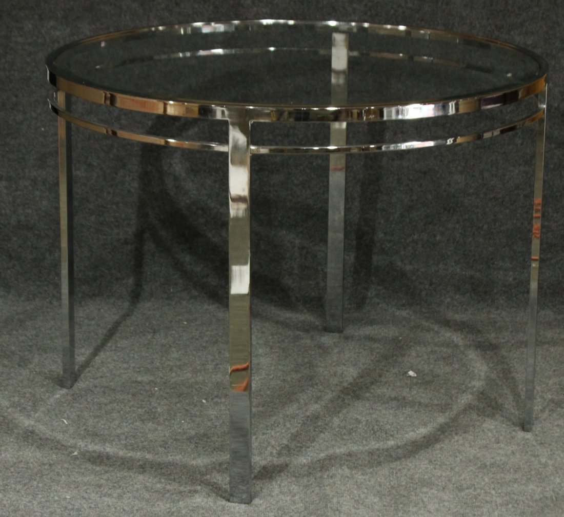 MILO BAUGHMAN FLAT BAR ROUND DINETTE TABLE GLASS TOP