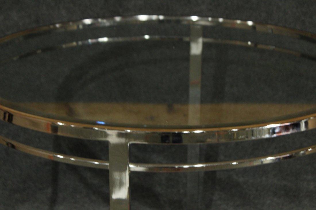 MILO BAUGHMAN FLAT BAR ROUND DINETTE TABLE GLASS TOP - 2