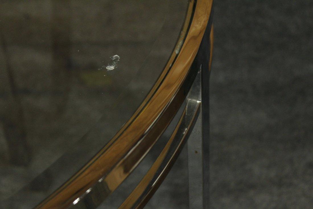 MILO BAUGHMAN FLAT BAR ROUND DINETTE TABLE GLASS TOP - 3