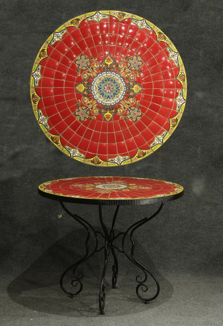 Super RED MOSAIC TILE TOP ROUND CAFE TABLE IRON BASE