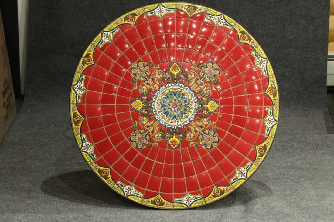 Super RED MOSAIC TILE TOP ROUND CAFE TABLE IRON BASE - 2