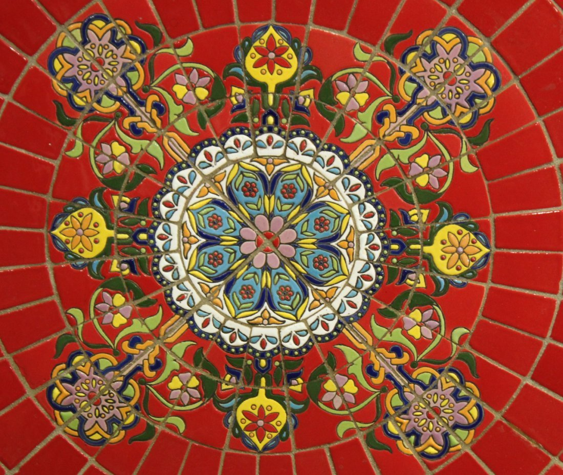 Super RED MOSAIC TILE TOP ROUND CAFE TABLE IRON BASE - 3