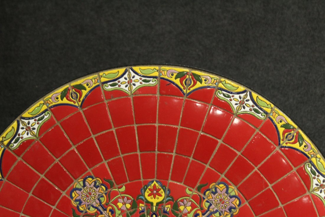 Super RED MOSAIC TILE TOP ROUND CAFE TABLE IRON BASE - 4