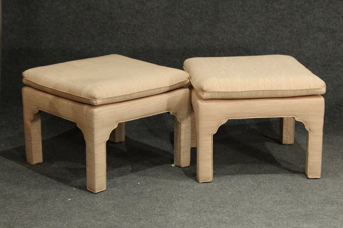 2 DOROTHY DRAPER Design Upholstered FOOT STOOLS