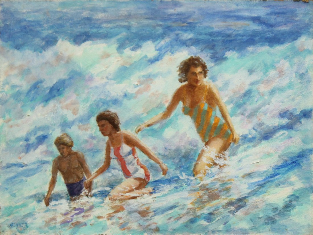 NOLAN P BENNER JR Student Of WALTER BAUM Oil OCEAN SURF