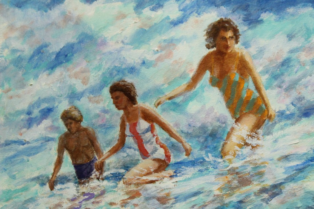 NOLAN P BENNER JR Student Of WALTER BAUM Oil OCEAN SURF - 2