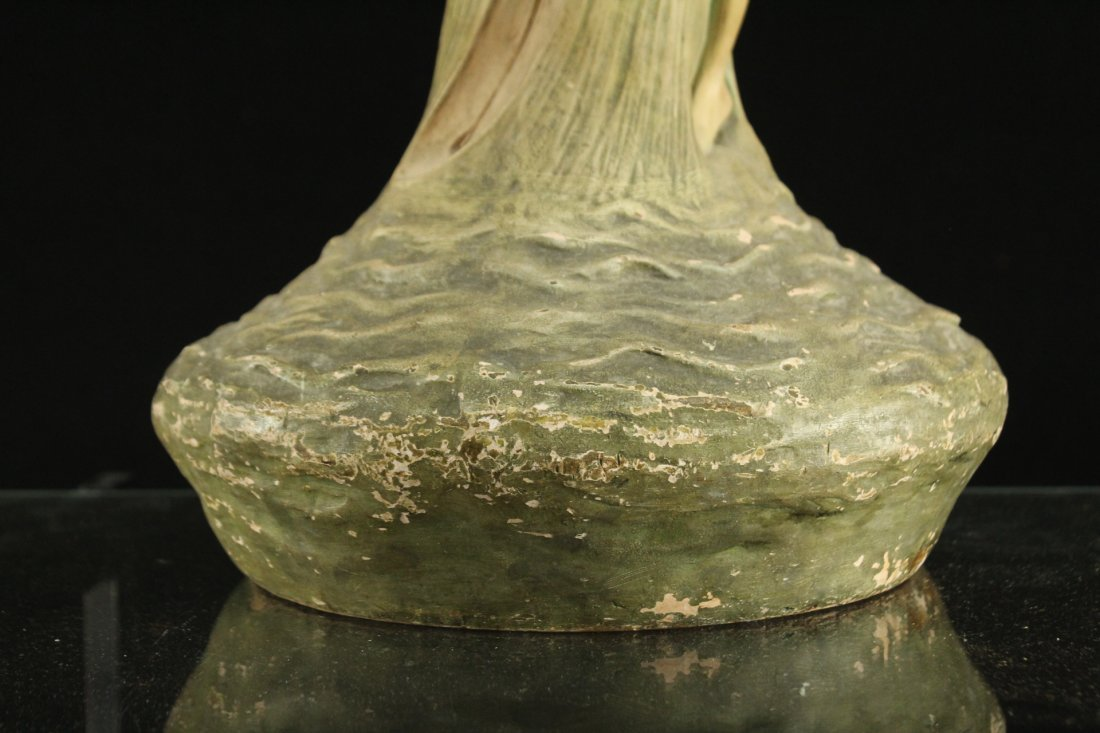 ART NOUVEAU CERAMIC VASE WITH OUTER NUDE WOMAN ON SIDE - 3
