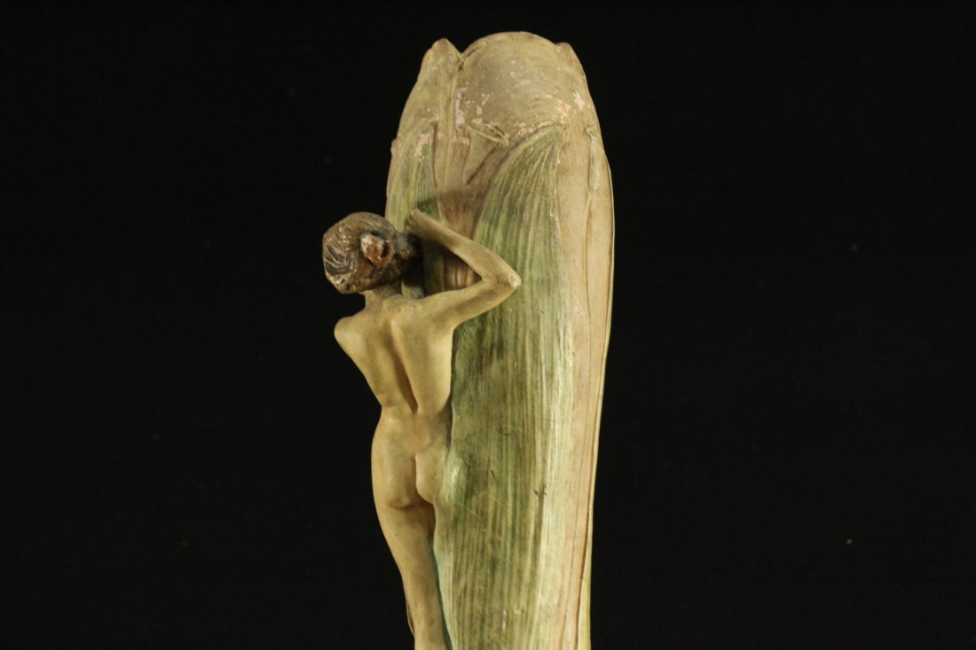 ART NOUVEAU CERAMIC VASE WITH OUTER NUDE WOMAN ON SIDE - 5