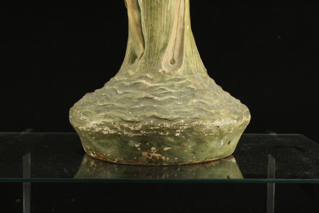 ART NOUVEAU CERAMIC VASE WITH OUTER NUDE WOMAN ON SIDE - 6
