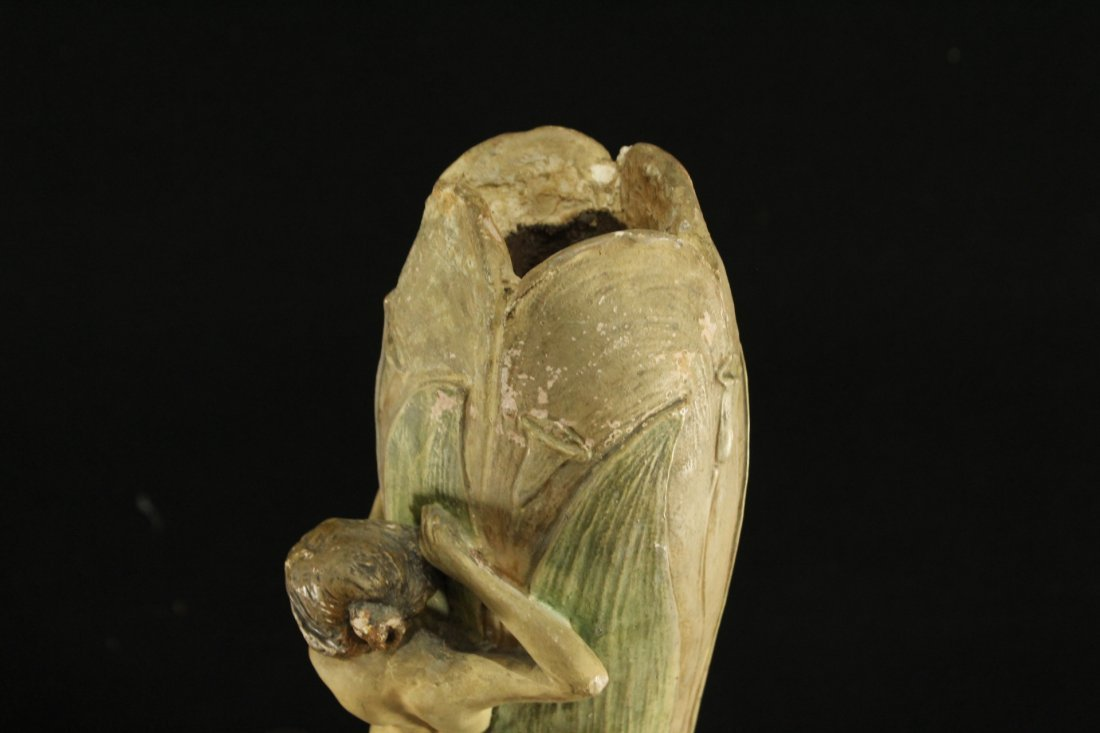 ART NOUVEAU CERAMIC VASE WITH OUTER NUDE WOMAN ON SIDE - 7