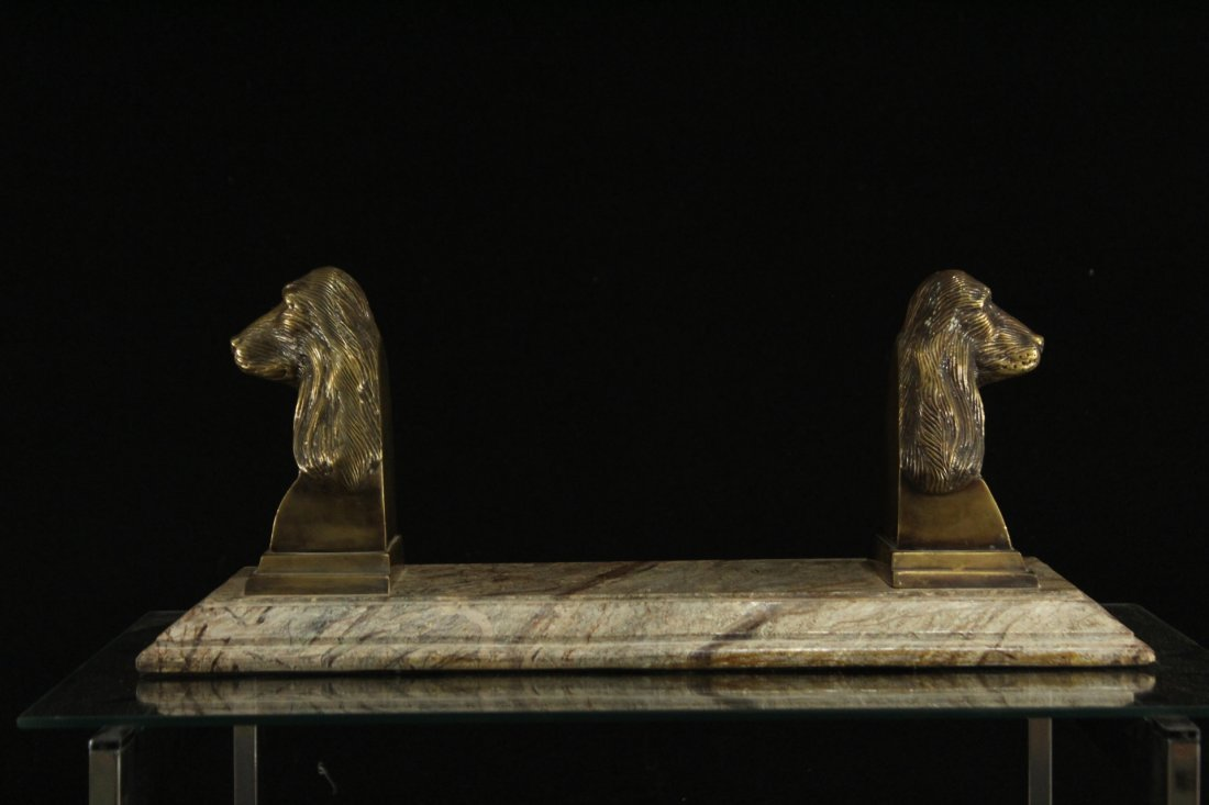 Exceptional MARBLE BASE WITH BRONZE DOG HEAD BOOK STAND