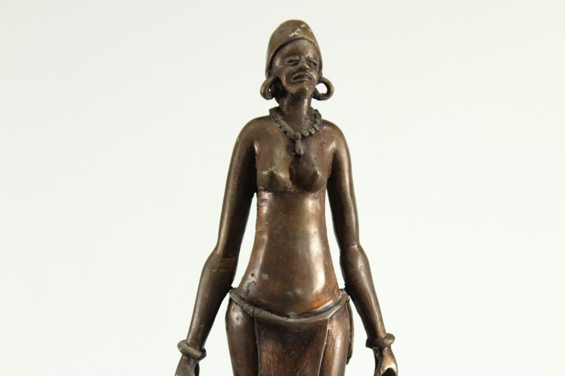 BRONZE STATUE OF AFRICAN WOMAN CARRYING WATER BUCKETS - 2