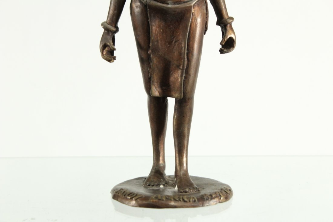 BRONZE STATUE OF AFRICAN WOMAN CARRYING WATER BUCKETS - 3