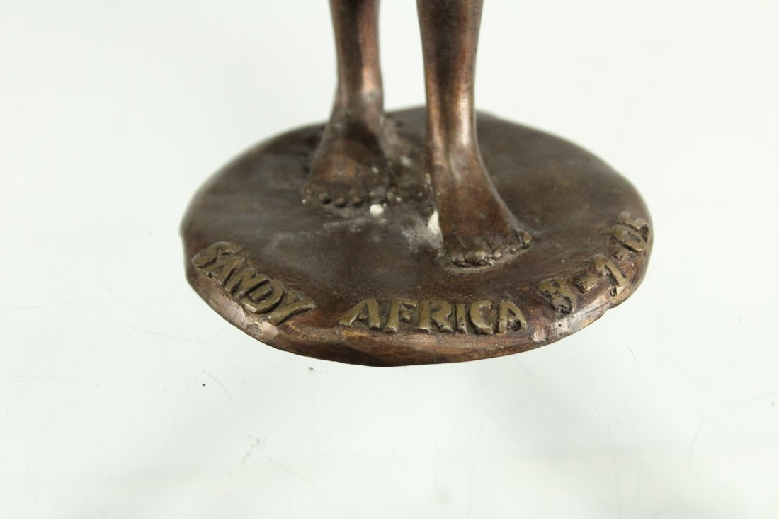 BRONZE STATUE OF AFRICAN WOMAN CARRYING WATER BUCKETS - 4