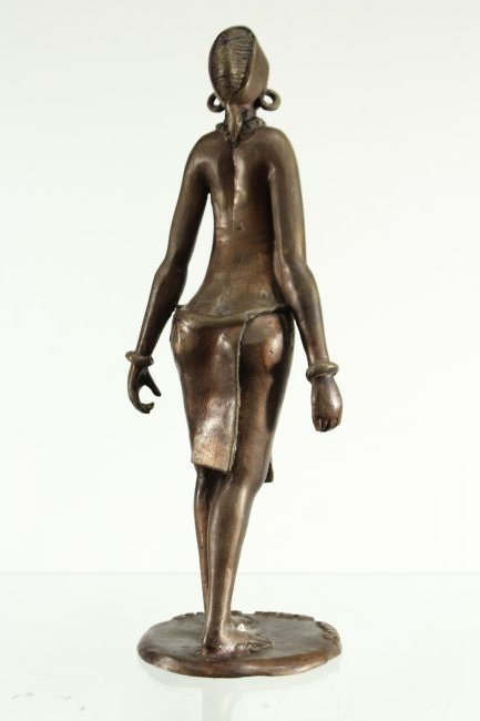 BRONZE STATUE OF AFRICAN WOMAN CARRYING WATER BUCKETS - 5
