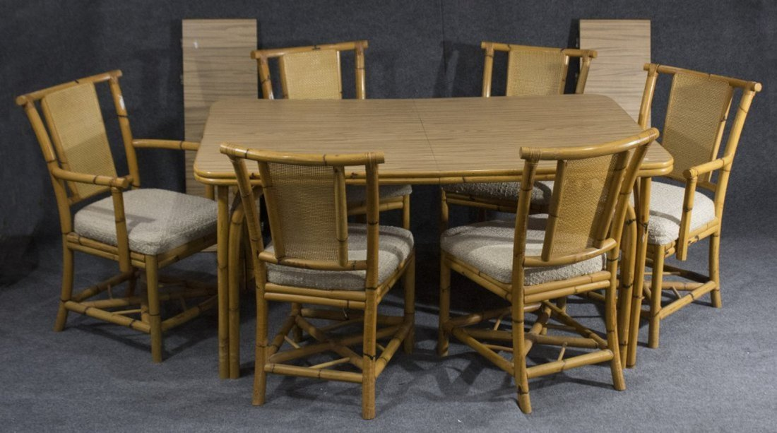 WABASH Mid Century BAMBOO DINING TABLE WITH 6 CHAIRS