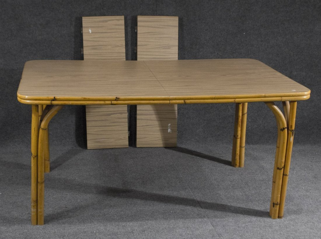 WABASH Mid Century BAMBOO DINING TABLE WITH 6 CHAIRS - 2