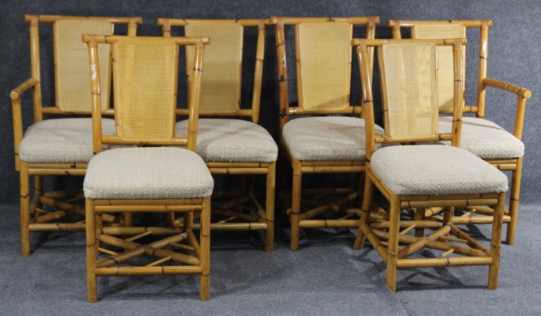 WABASH Mid Century BAMBOO DINING TABLE WITH 6 CHAIRS - 5