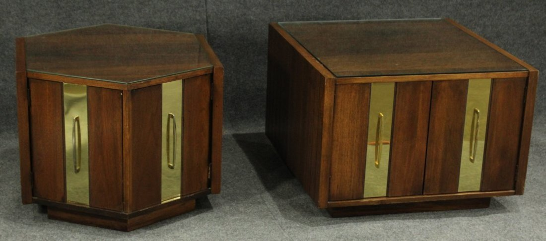 Mersman Mid-century modern end tables glass tops