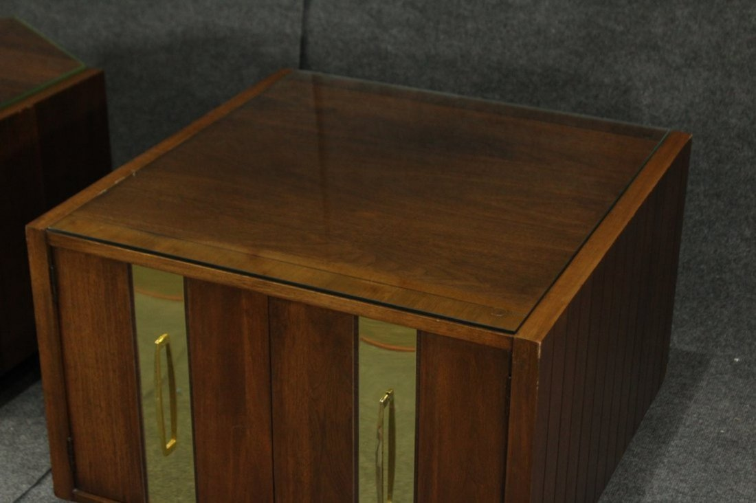 Mersman Mid-century modern end tables glass tops - 3